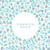 Okrąg rama mali błękitów kwiaty z zielenią opuszcza (ja) Zdjęcia Stock