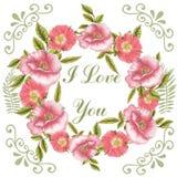 Okrąg rama z ręka rysującymi kwiatami Zdjęcie Royalty Free