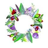 Okrąg ramy z kwiatem Ręka rysująca akwareli ilustracja Może używać jako druk dla tkaniny lub ramy dla Twój teksta fotografia stock