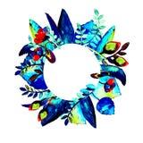 Okrąg ramy z kwiatem Ręka rysująca akwareli ilustracja Może używać jako druk dla tkaniny lub ramy dla Twój teksta zdjęcie royalty free