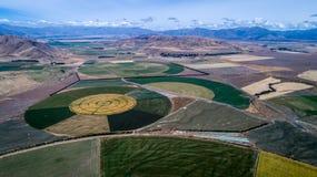 Okrąg uprawy pola widzieć od above obraz stock