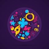 Okrąg z abstrakcjonistyczna ręka rysującymi elementami Może używać dla reklamować i graficzny projekta Obrazy Royalty Free