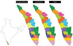 okręgów Kerala mapa Fotografia Stock
