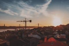 Okręg w Lisbon podczas zmierzchu obrazy royalty free