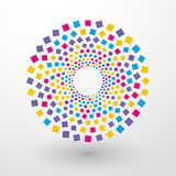 Okręgi barwioni kwadraty ilustracja wektor