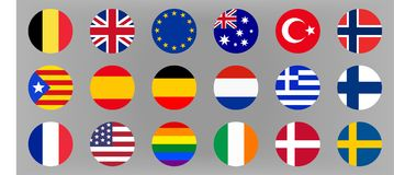 Okręgu światu flaga ustawiać Europa, Australia i usa, Obrazy Stock