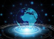 Okręgu i globalnej sieci technologii tło, abstrakcjonistyczny techno Zdjęcia Royalty Free