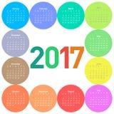 Okręgu kalendarz dla 2017 rok ilustracja wektor