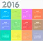 Okręgu kalendarz dla 2016 rok ilustracja wektor