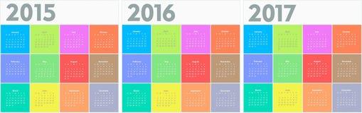 Okręgu kalendarz dla 2015 2016 2017 rok royalty ilustracja