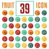 Okręgu konturu mieszkania styl z podcieniowanie owoc - 39 ikon set royalty ilustracja