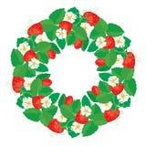 Okręgu ornament z truskawkami w sercu kształtuje z kwiatami Obrazy Royalty Free