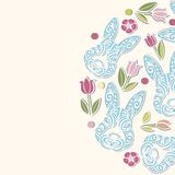 Okręgu pojęcie z królików kwiatami i głową Obraz Royalty Free