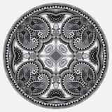 Okręgu popielaty koronkowy ornament, round ornamentacyjny Zdjęcia Stock
