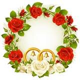 okręgu ramowy czerwieni róży biel Obraz Stock