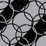Okręgu retro czarny i biały bezszwowy tło. Zdjęcia Stock