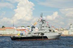 Okręt wojenny przy kotwicą Fotografia Stock