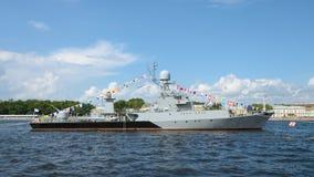 Okręt wojenny przy kotwicą Zdjęcia Royalty Free