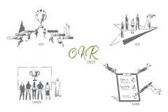 OKR, alvo, foco, trabalhos de equipe, esboço planejando do conceito ilustração stock