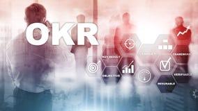 OKR - concepto dominante objetivo del resultado T?cnicas mixtas en una pantalla estructurada virtual Gesti?n de proyectos foto de archivo