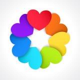 Okrąg barwioni papierowi serca Zdjęcia Royalty Free