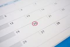 Okrąg ocena na kalendarzu przy 20th Zdjęcie Stock