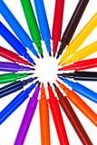 Okrąg varicolored filc pióra Fotografia Stock