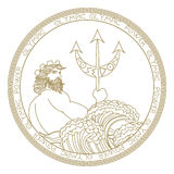 Okręgu poseidon loga projekt Obrazy Stock