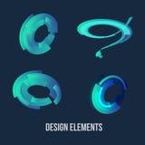 Okręgu projekta elementu set Biznesowa Blue Circle ikona Korporacyjny, technologia loga projekta szablon Zdjęcie Stock