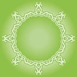 Okręgu rocznika ornament na zieleni bazie Zdjęcia Stock