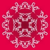 Okręgu wektorowy ornament na czerwieni bazie Fotografia Stock