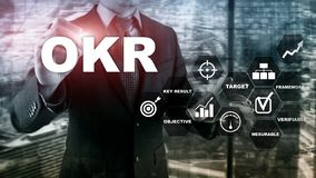 OKR - objective key result concept. Mixed media on a virtual structured screen. Project management. OKR - objective key result concept. Mixed media on a virtual stock images