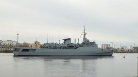 Okręt wojenny przy morzem Fotografia Royalty Free