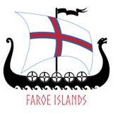 Okręt wojenny Wikingowie - Drakkar i Faroe wyspy zaznaczamy royalty ilustracja