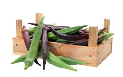 Okra (Abelmoschus). In wooden crate isolated on white background Stock Images