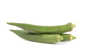 Okra bär frukt Abelmoschus esculentus som isoleras på vita Backgroun Royaltyfri Bild