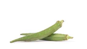 Okra bär frukt Abelmoschus esculentus som isoleras på vita Backgroun Royaltyfria Foton