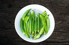 Okra in a bowl Royalty Free Stock Photos