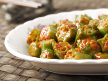 Okra in chili shrimp paste Royalty Free Stock Images