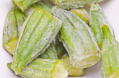 Okra congelado Fotografia de Stock Royalty Free