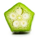 Okra cross section isolated on white. Okra cross section, high magnification Stock Photo