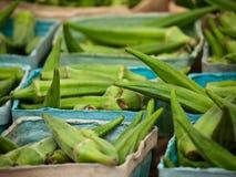 Okra del mercado fresco en Virginia Fotos de archivo libres de regalías