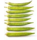 Okra- eller damfingergrönsaker III Arkivfoto