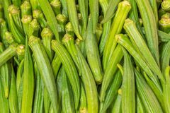 Okra at Farmers Market. Background of a Okra at Farmers Market Royalty Free Stock Photos