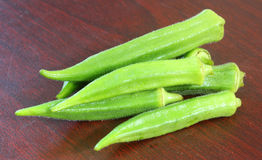 Okra. Fresh okra on a table Royalty Free Stock Images