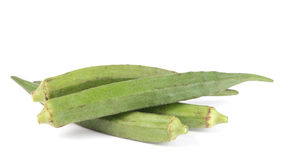 Okra fruits Abelmoschus esculentus isolated on White Backgroun. Fresh Okra fruits Abelmoschus esculentus isolated on White Background Stock Photos