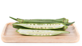 Okra fruits Abelmoschus esculentus isolated on White Backgroun. Fresh Okra fruits Abelmoschus esculentus isolated on White Background Royalty Free Stock Image