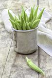 Okra, gumbo in an old pot Stock Photo