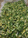 Okra minced for cooking Stock Image