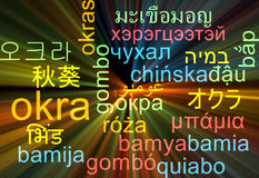 Okra multilanguage wordcloud background concept glowing Stock Photos